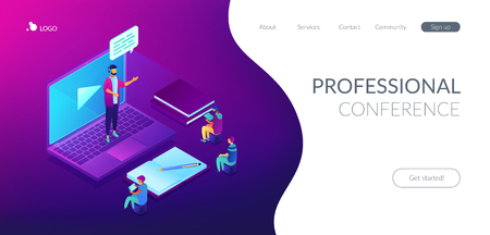 Business people watching online professional presentation on laptop. Online presentation, professional conference, web meeting room concept. Isometric 3D website app landing web page template