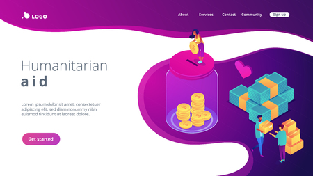 Volunteers donating money into the donation jar and carrying donation boxes with goods. Donation, charity donation funds, gift in kind concept. Isometric 3D website app landing web page template Vettoriali