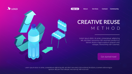 Upcycling symbol and a plastic bottle reused to make a chair. Upcycling process, creative reuse method, ecology recycling trend concept. Isometric 3D website app landing web page template