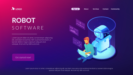 Robotics engineer working with laptop on robot software. Robotics project and system, sensor guided robotics and artificial intelligence concept. Isometric 3D website app landing web page template