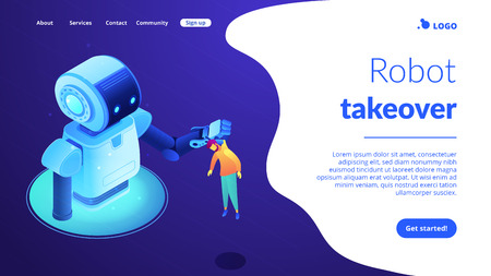 Huge robot lifting businessman by the collar and holding him. Human-robot interaction and cooperation, workplace automation, robot takeover concept. Isometric 3D website app landing web page template