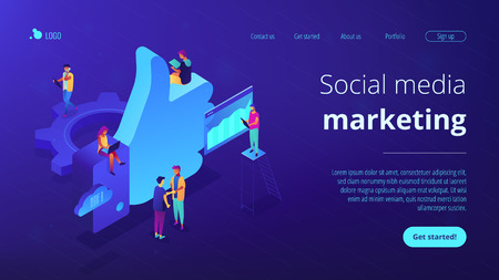 Social media marketing managers and specialist working and thumb up. Social media marketing, social customer care, SMM for business growth concept. Isometric 3D website app landing web page template