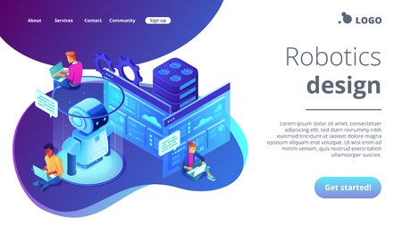 Robotics developers team with laptops work on robot automation process. Robotics design and programming, robotics algorithm and software concept. Isometric 3D website app landing web page template