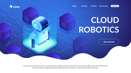 Modern robot connected to network. Cloud robotics and networking, robot monitoring and internet, robotics system and technology concept. Isometric 3D website app landing web page template 일러스트