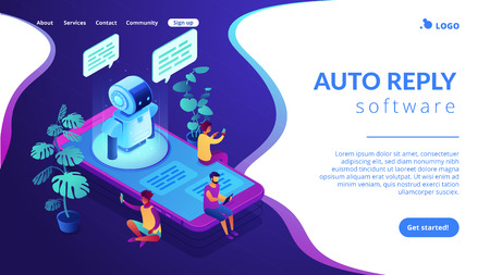 Users with digital gadgets sitting on smartphone screen and chatting with chatbot. Social media bots, messenger chatbot, auto reply software concept. Isometric 3D website app landing web page template Stock fotó - 120351085