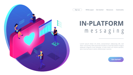 Social media specialists and analyst work with tablets and laptops and like. Social media engagement, in-platform messaging, SMM campaign concept. Isometric 3D website app landing web page template