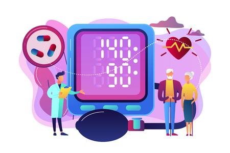 Arzt, älteres Ehepaar bei tonometer hohem Blutdruck, winzige Leute. Bluthochdruck, Hypertonie, Blutdruckkontrollkonzept. Helle, lebendige violette Vektor-isolierte Illustration