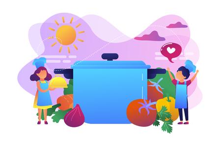 Les enfants à l'énorme casserole aiment cuisiner des plats savoureux à partir de légumes, de petites personnes. Camp de cuisine, éducation culinaire pour les enfants, concept de cours de jeune chef. Illustration isolée de vecteur violet vif lumineux