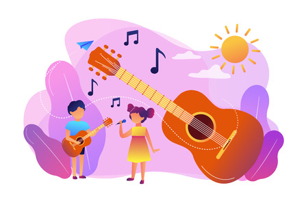 Happy kids enjoy singing and playing the guitar at summer camp, tiny people. Musical camp, young music talents, music and song courses concept. Bright vibrant violet vector isolated illustration