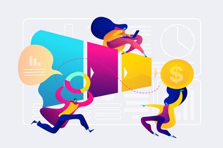 Ilustración de vector de concepto de gestión de canal de ventas.