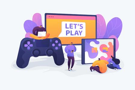 Cross-platform play vector illustration.