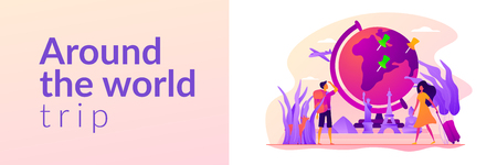 Traveling the world, worldwide adventure, around the world trip concept. Vector banner template for social media with text copy space and infographic concept illustration.