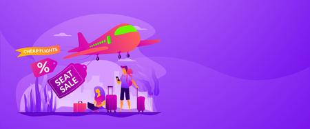 Low cost flights vector web banner concept.