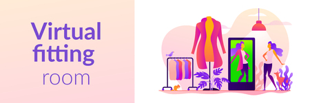 Virtual fitting room, online dressing, e-commerce clothing room concept. Vector banner template for social media with text copy space and infographic concept illustration.