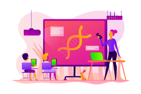 Digital classroom concept vector illustration.