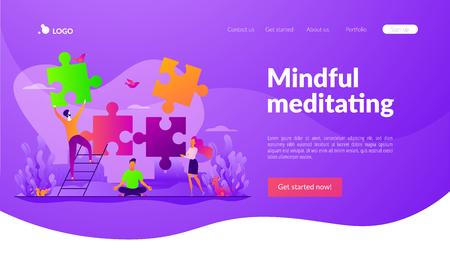 Mindfulness landing page template. Çizim