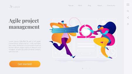 Agile project management landing page template. Ilustrace