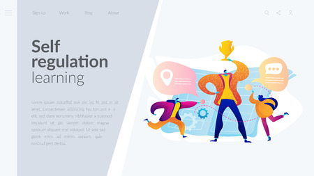 Self management landing page template. Ilustrace
