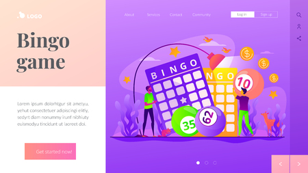 Lottery game landing page template. 일러스트