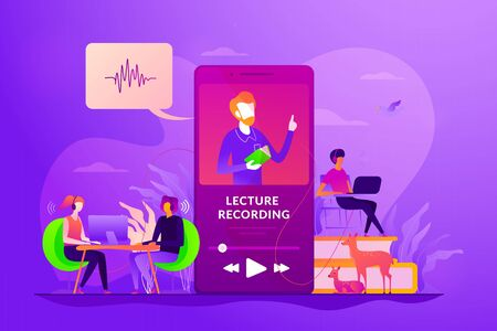 Recorded classes concept vector illustration.