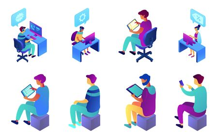 Businessman and call center operator isometric 3D illustration set. Çizim