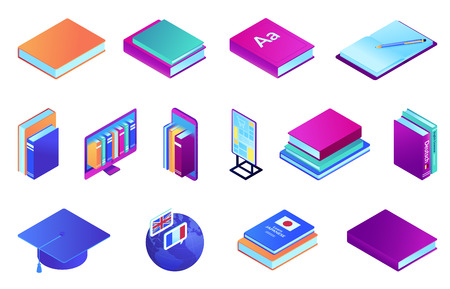 Books and online education isometric 3D illustration set. School textbook and reading, distance education and e-library, graduation cap and learning languages concept. Isolated on white background.