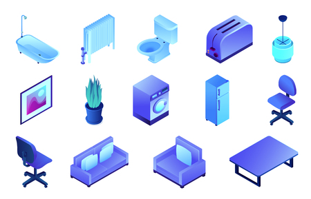 Office furniture and bathroom isometric 3D illustration set. Illusztráció