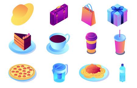 Fast food and drink, shopping isometric 3D illustration set. Standard-Bild - 121706420