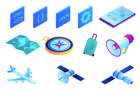 Satellite and web development isometric 3D illustration set.