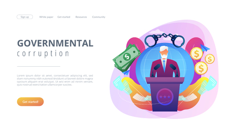 Political corruption concept landing page. Illustration
