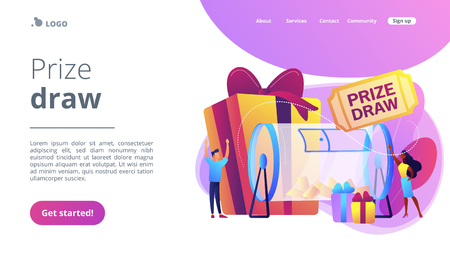 Prize draw concept landing page.