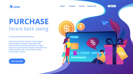 Debit card, gift box and users. Online card payment and plastic money, bank card purchase and shopping, e-commerce and secure bank saving concept, violet palette. Website landing web page template.