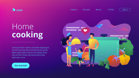 Tiny people family waiting for wife in apron cook tasty food and big pot, vegetables. Home cooking, home foods recipes, family time activity concept. Website vibrant violet landing web page template. Ilustração