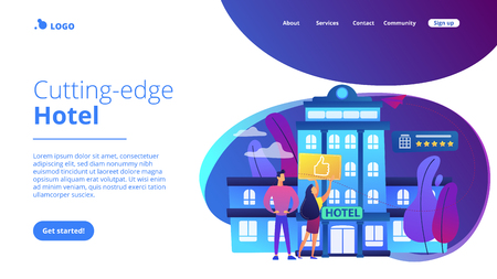 Business people with thumb up for modern trendy lifestyle hotel. Lifestyle hotel, modern hospitality trend, cutting-edge hotel concept. Website vibrant violet landing web page template. Ilustração