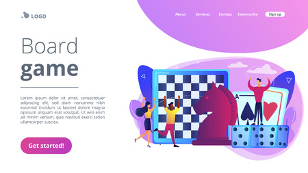 Entertainment of tiny people playing and winning chess, game cards and dice. Board game, leisure time activity, whole family activity concept. Website vibrant violet landing web page template.