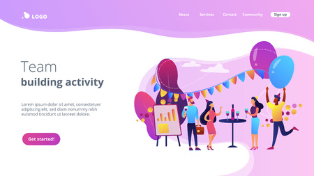 Happy tiny business people dancing, having fun and drinking wine. Corporate party, team building activity, corporate event idea concept. Website vibrant violet landing web page template. Ilustração