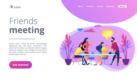 Group of friends sitting at the table talking, drinking coffee and tea, tiny people. Friends meeting, cheer up friend, friendship support concept. Website vibrant violet landing web page template.