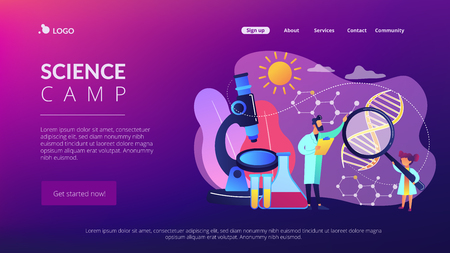 Science camp concept landing page.