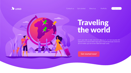 Traveling the world vector landing page template.