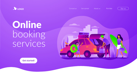 Family vacation vector landing page template. Ilustrace