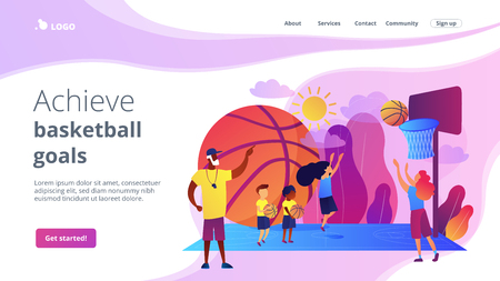 Basketball camp concept landing page.
