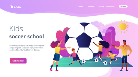Kids learning to play soccer with balls on the field in summer camp, tiny people. Soccer camp, football academy, kids soccer school concept. Website homepage landing web page template. Illustration