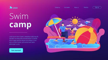 Swim camp concept landing page. Çizim