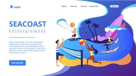 Summer beach activities concept landing page.