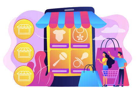 Tiny people customers buy babies goods online from smartphone. Niche service marketplace, innovative online retail, particular goods e-trade concept. Bright vibrant violet vector isolated illustration