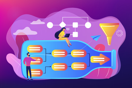 Tiny business people at bottle looking for system least capacity. Bottleneck analysis, bottlenecking control, workflow improvement concept. Bright vibrant violet vector isolated illustration Çizim
