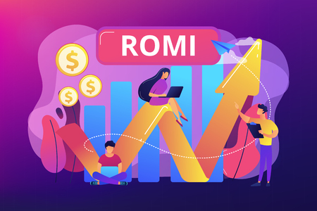Marketing investment effectiveness chart, tiny people. Marketing investment, return on marketing investment, advertising investment returns concept. Bright vibrant violet vector isolated illustration