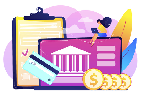 Customer sitting with laptop and bank with credit card and financial savings. Personal bank account, savings bank deposit, fixed rate loan concept. Bright vibrant violet vector isolated illustration