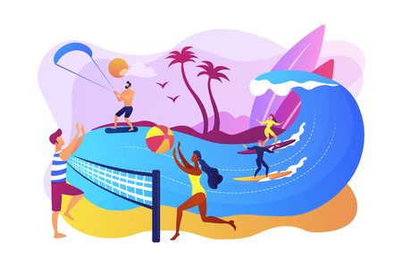 Tiny people adults playing volleyball, surfing and kitesurfing. Summer beach activities, seacoast entertainment, sea animation services concept. Bright vibrant violet vector isolated illustration