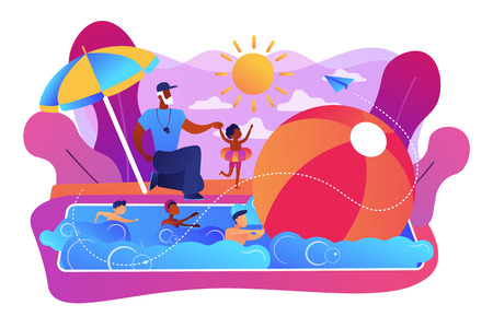 Coach teaching and children learning to swim in the pool in summer camp, tiny people. Swim camp, open water trainings, best swimmer course concept. Bright vibrant violet vector isolated illustration